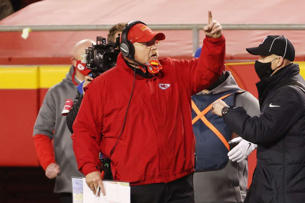 PHOTO: Head coach Andy Reid of the Kansas City Chiefs reacts on the sideline in the first half against the Buffalo Bills during the AFC Championship game at Arrowhead Stadium on Jan. 24, 2021, in Kansas City, Mo.