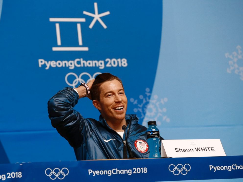 Shaun White speaks at a news conference at the 2018 Winter Olympics in Pyeongchang, South Korea, Wednesday, Feb. 14, 2018.