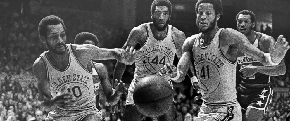 PHOTO: Charles Johnson (10), Clifford Ray (44) and Keith Wilkes (41) of the Golden State Warriors during the first half of NBA championship game against the Washington Bullets at the Cow Palace in San Francisco, May 23, 1975.