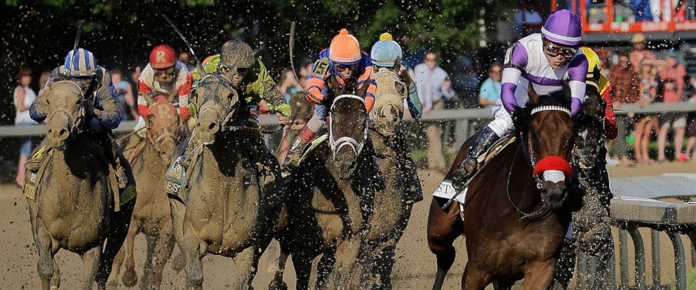 PHOTO: Mario Guitierrez rides Nyquist to victory during the 142nd running of the Kentucky Derby horse race at Churchill Downs Saturday, May 7, 2016, in Louisville, Ky.