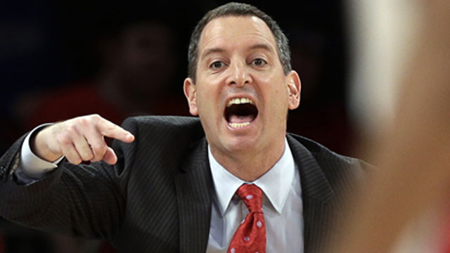 PHOTO: In this March 12, 2013, file photo, Rutgers coach Mike Rice yells out to his team during an NCAA college basketball game against DePaul at the Big East tournament in New York.