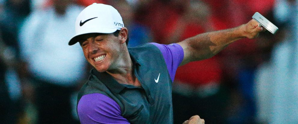 PHOTO: Rory McIlroy, of Northern Ireland, celebrates after winning the PGA Championship golf tournament at Valhalla Golf Club on Sunday, Aug. 10, 2014, in Louisville, Ky.