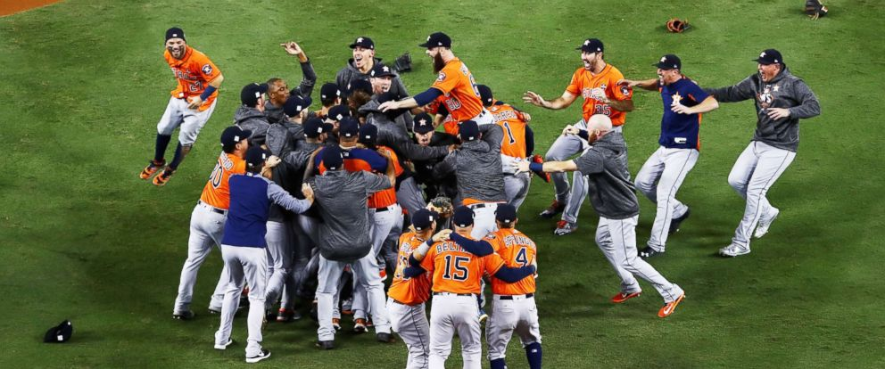 PHOTO: The Houston Astros celebrate defeating the Los Angeles Dodgers 5-1 in game seven to win the 2017 World Series at Dodger Stadium, Nov. 1, 2017, in Los Angeles.