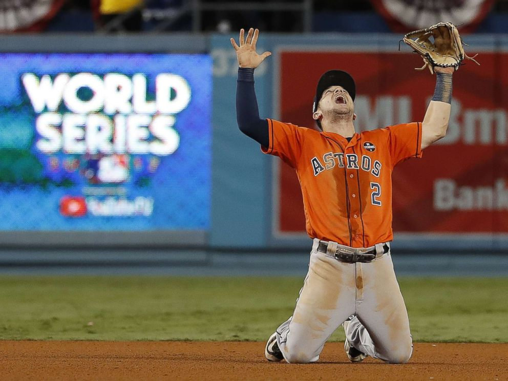 PHOTO: Houston Astros third baseman Alex Bregman reacts after the Astros defeated the Los Angeles Dodgers the World Series game seven at Dodger Stadium in Los Angeles, Nov. 1, 2017.