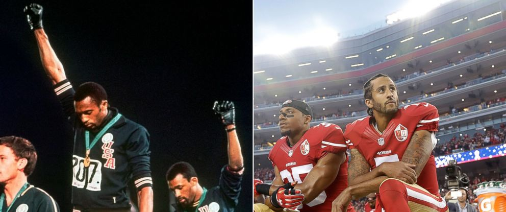 PHOTO: Tommie Smith and John Carlos raise their fists in protest at the Summer Olympic Games in Mexico City, Oct. 16, 1968, and San Francisco 49ers safety Eric Reid and quarterback Colin Kaepernick kneel, Sept. 12, 2016.