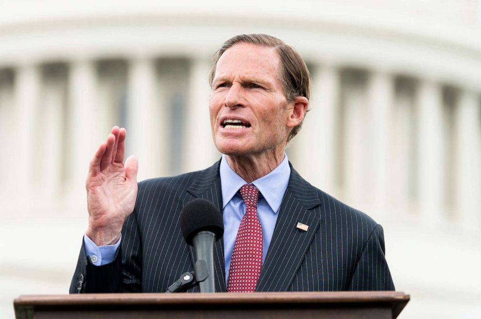 PHOTO: Senator Richard Blumenthal speaks during the event in front of the Capitol to urge the passage of the H.R. 8 universal (gun ownership) background checks legislation. Event was held at the grass on the eastern side of the U.S. Capitol in Washington.