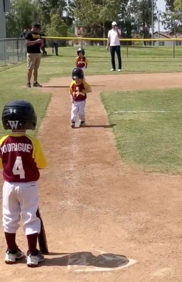 "PHOTO: 3-year-old Lennox Salcedo was told to ""run home as fast as he can"" during a baseball game. He delivered the performance of a lifetime."