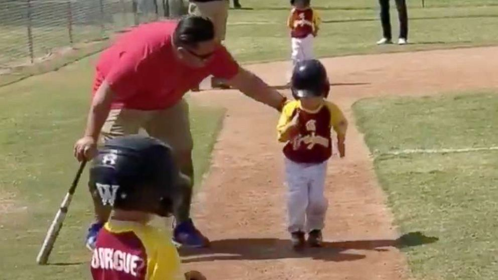 """3-year-old Lennox Salcedo was told to """"run home as fast as he can"""" during a baseball game. He delivered the performance of a lifetime."""