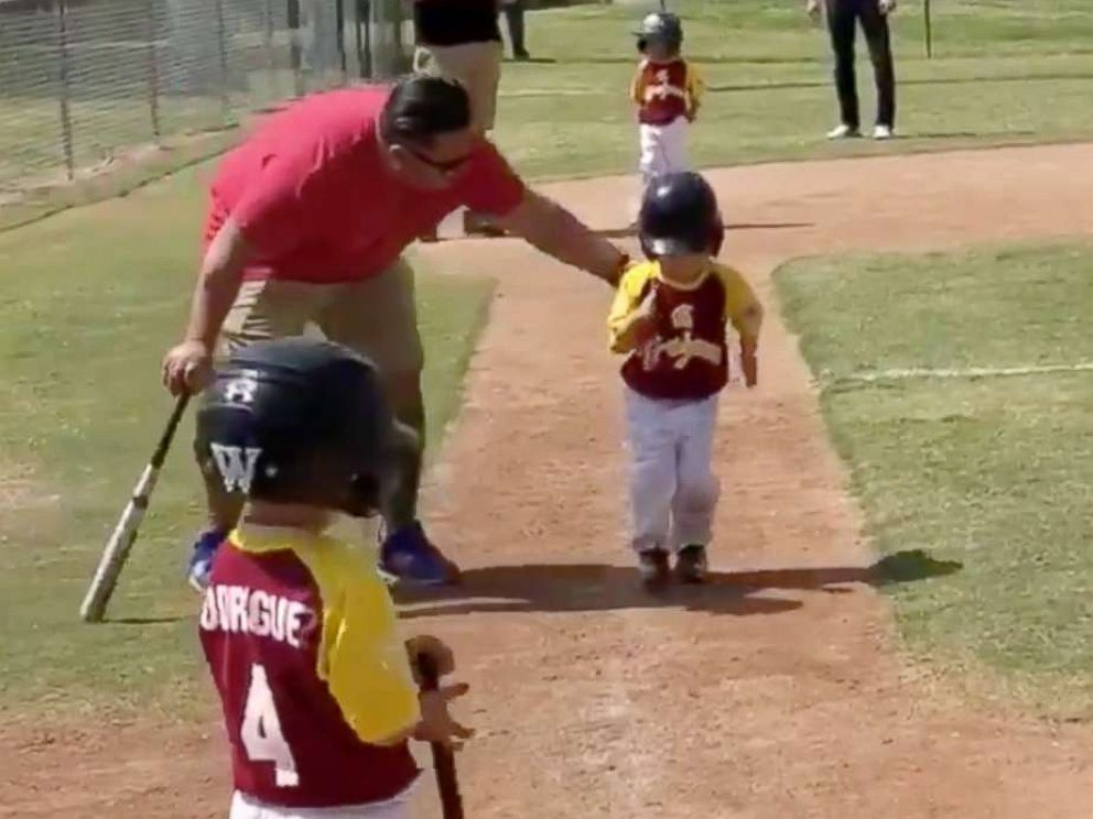 PHOTO: 3-year-old Lennox Salcedo was told to run home as fast as he can during a baseball game. He delivered the performance of a lifetime.