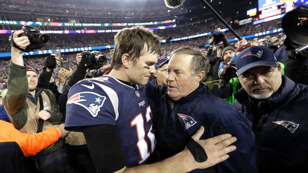 New England Patriots quarterback Tom Brady, hugs coach Bill Belichick after the AFC championship NFL football game against the Jacksonville Jaguars, Jan. 21, 2018, in Foxborough, Mass.