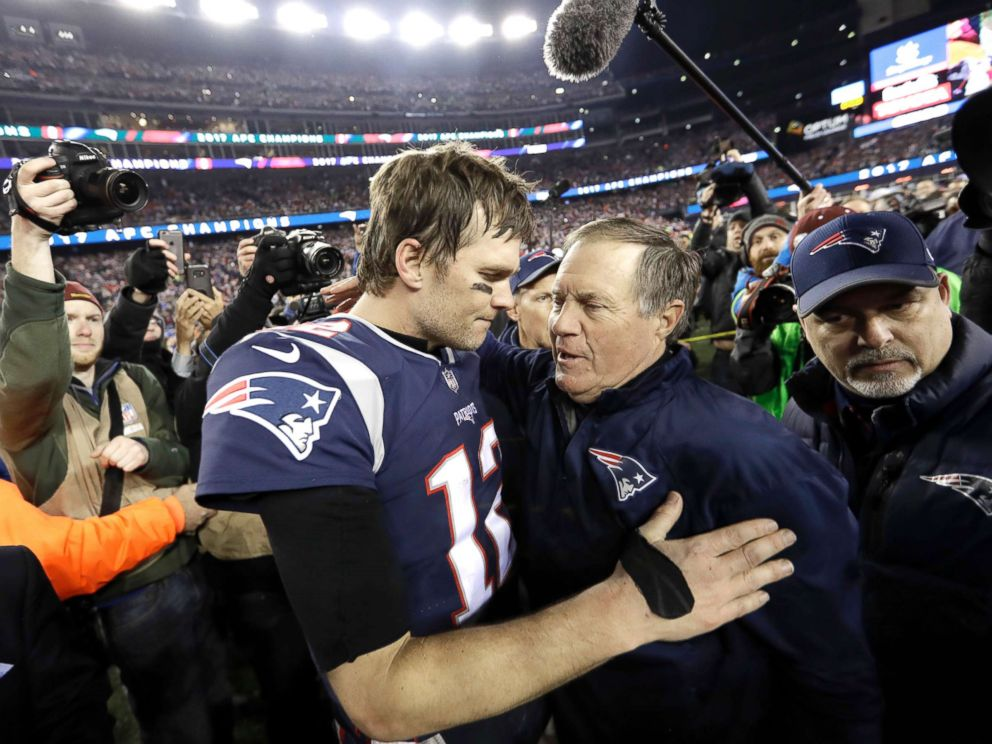 PHOTO: New England Patriots quarterback Tom Brady, hugs coach Bill Belichick after the AFC championship NFL football game against the Jacksonville Jaguars, Jan. 21, 2018, in Foxborough, Mass.