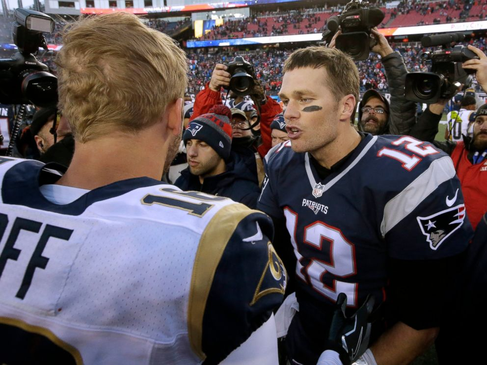 PHOTO: In this Dec. 4, 2016, file photo, New England Patriots quarterback Tom Brady right, speak at midfield to Los Angeles Rams quarterback Jared Goff after the Patriots won 26-10 in an NFL football game in Foxborough, Mass.