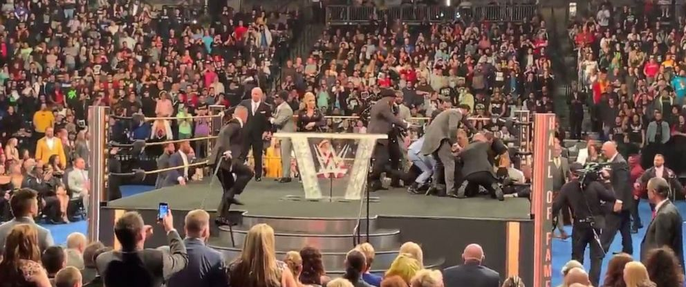PHOTO: WWE legend Bret Hart was attacked by an audience member during the companys Hall of Fame ceremony at Barclays Center in Brooklyn, N.Y., on Saturday, April 6, 2019.