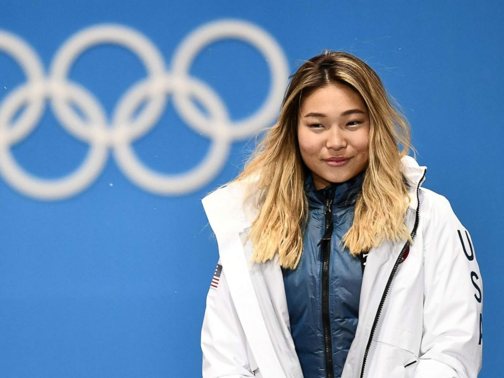 PHOTO: Gold medalist Chloe Kim of the U.S., during the medal ceremony for the womens snowboard halfpipe event, at the PyeongChang 2018 Olympic Games, South Korea, Feb. 13, 2018.