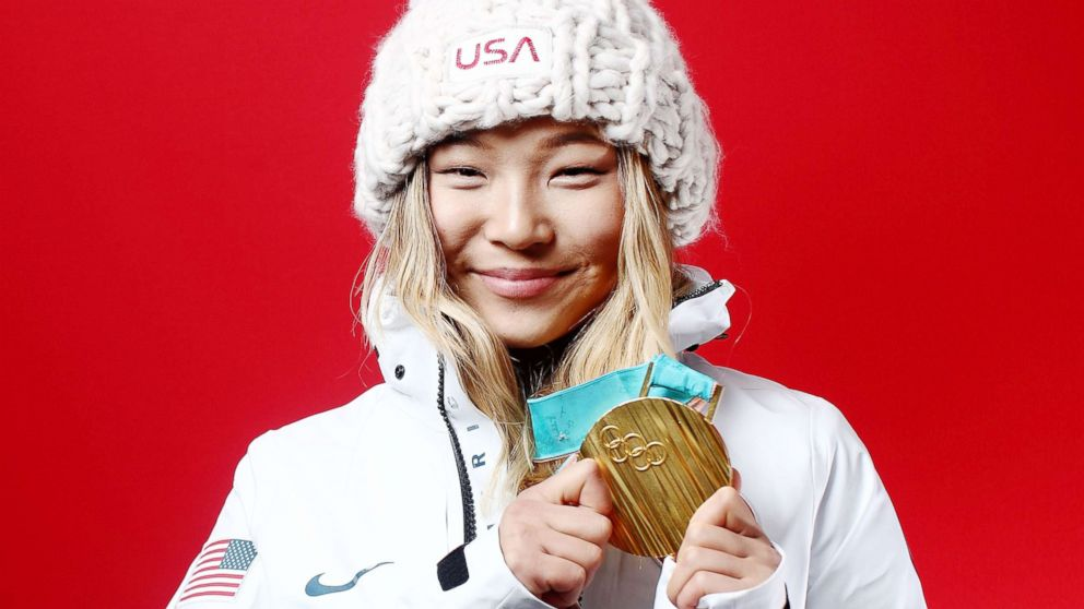 Gold medalist in snowboard ladies' halfpipe, Chloe Kim of the U.S., poses for a portrait, Feb. 13, 2018, in Gangneung, South Korea.