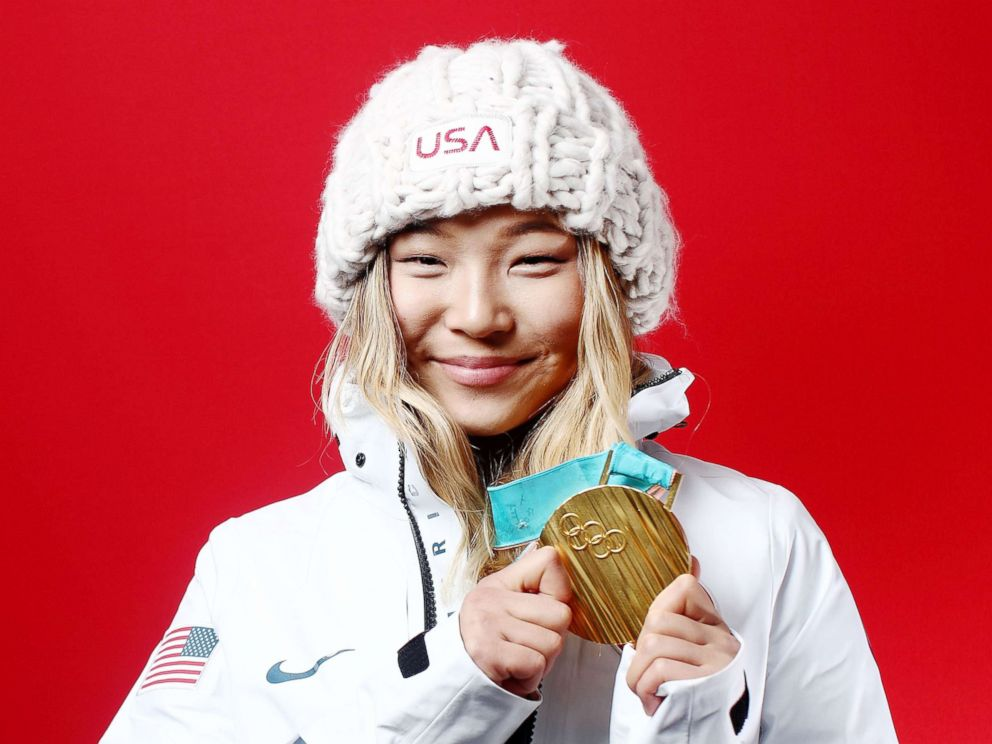 PHOTO: Gold medalist in snowboard ladies halfpipe, Chloe Kim of the U.S., poses for a portrait, Feb. 13, 2018, in Gangneung, South Korea.