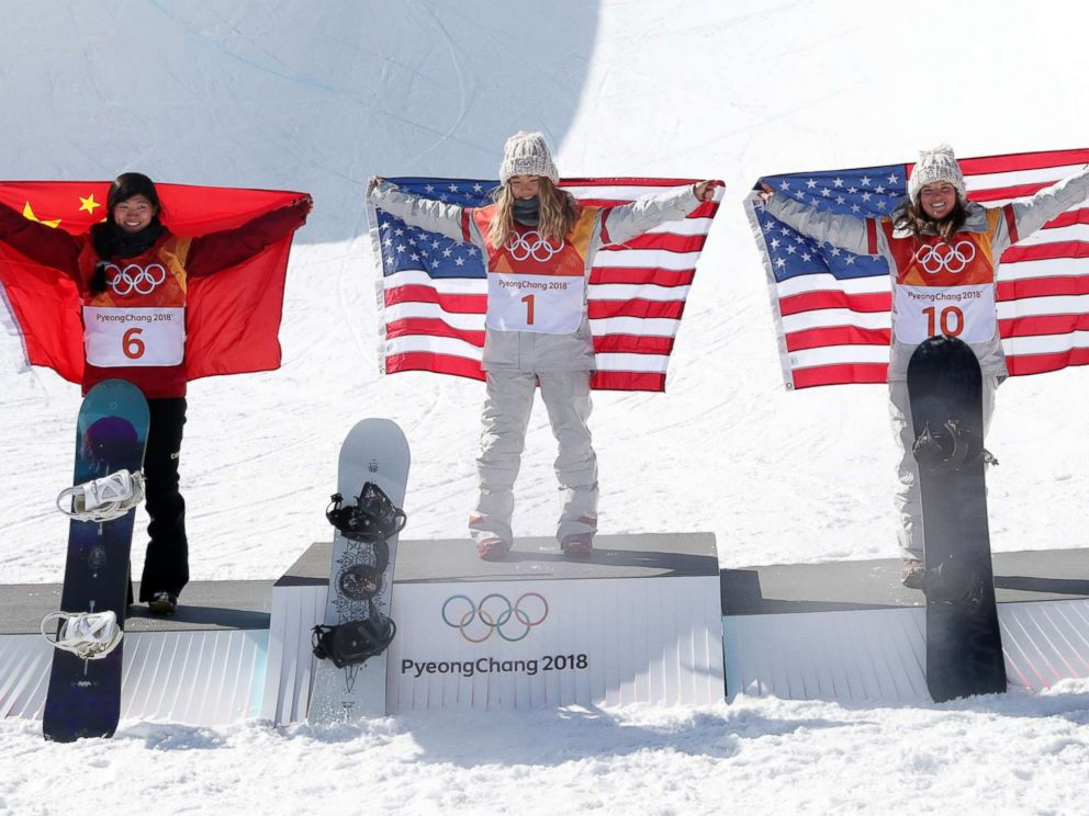 PHOTO: American Chloe Kim (C), the winner of the womens snowboard halfpipe at the Pyeongchang Winter Olympics, poses with silver medalist Liu Jiayu (L) of China and compatriot and bronze medalist Arielle Gold in Pyeongchang, South Korea, Feb. 13, 2018.