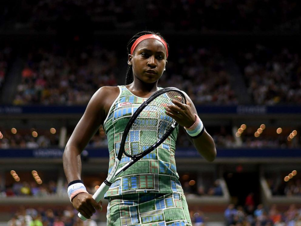 PHOTO: Coco Gauff reacts during her Womens Singles third round match against Naomi Osaka of Japan on day six of the 2019 U.S. Open at the USTA Billie Jean King National Tennis Center on Aug. 31, 2019, in New York.