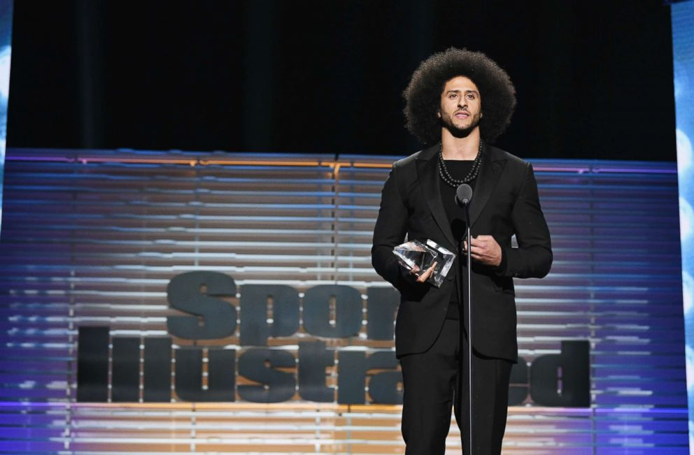 PHOTO: Colin Kaepernick receives the SI Muhammad Ali Legacy Award during the Sports Illustrated 2017 Sportsperson of the Year Show, Dec. 5, 2017, at Barclays Center in New York City.