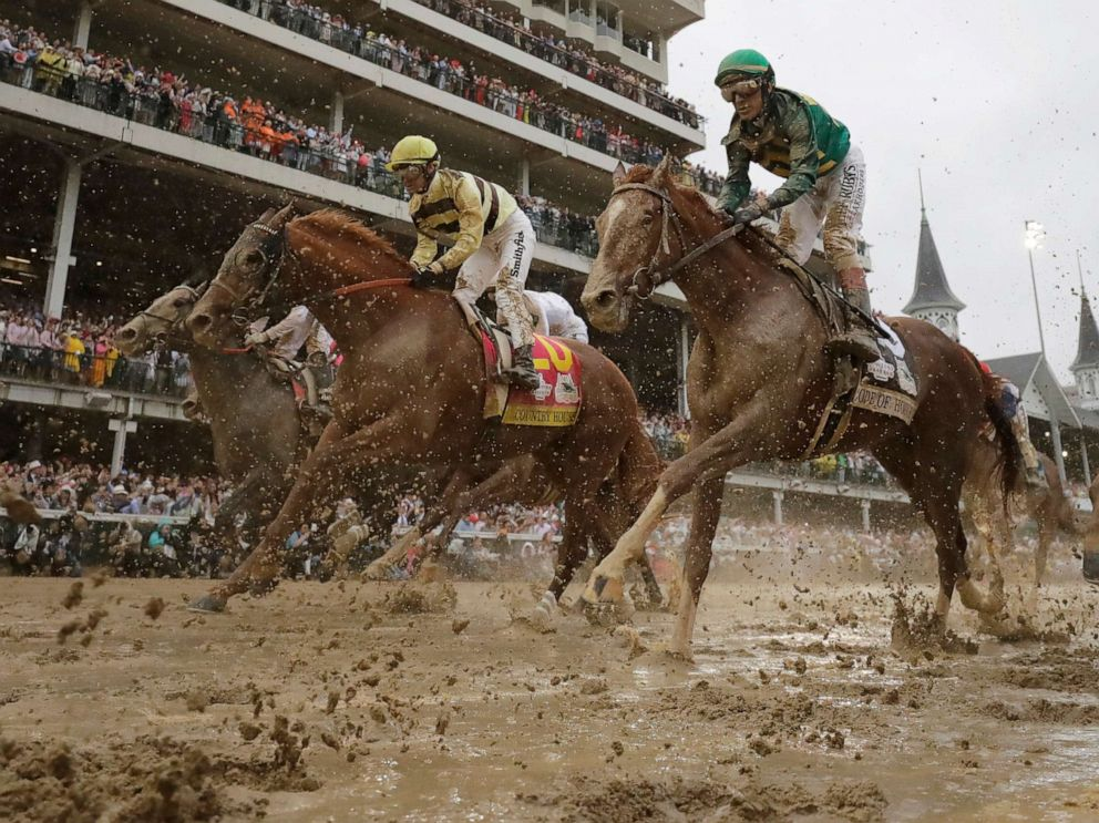 PHOTO: Flavien Prat rides Country House to the finish line during the Kentucky Derby at Churchill Downs, May 4, 2019, in Louisville, Ky. Country House was declared the winner after Maximum Security was disqualified following a review by race stewards.