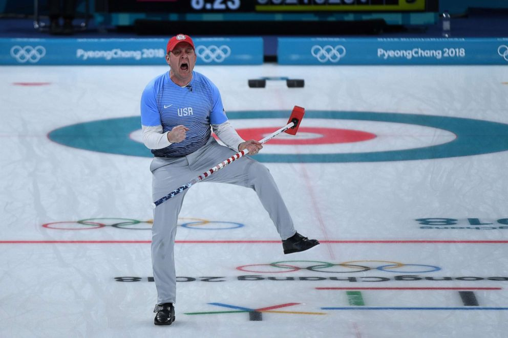 American John Shuster celebrates a point during the curling men's gold medal game between the USA and Sweden, Feb. 24, 2018.