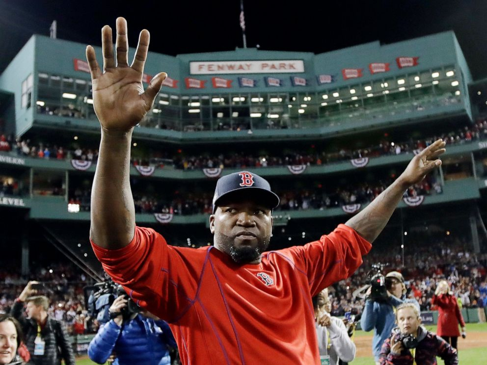 PHOTO: In this Oct. 10, 2016, file photo, Boston Red Soxs David Ortiz waves from the field at Fenway Park after Game 3 of baseballs American League Division Series against the Cleveland Indians in Boston.