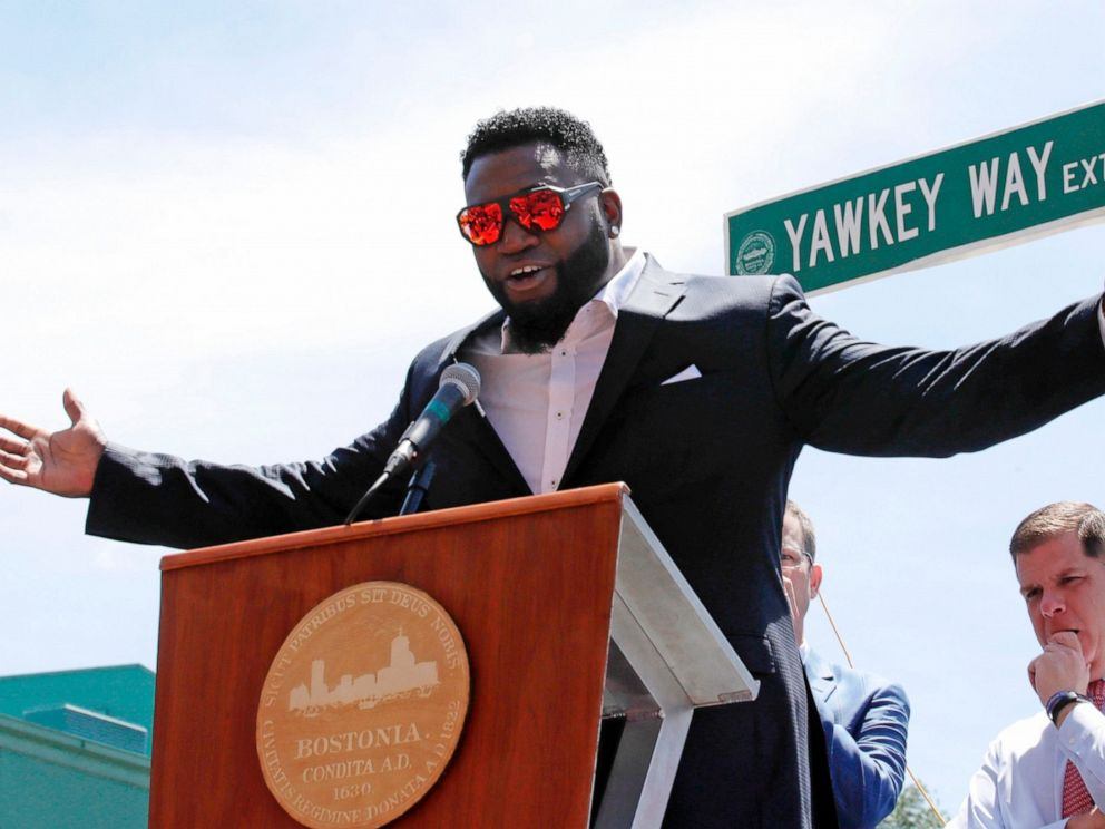 PHOTO: In this June 22, 2017, file photo, retired Boston Red Sox designated hitter David Ortiz is honored with the renaming of a portion of Yawkey Way to David Ortiz Drive outside Fenway Park in Boston.
