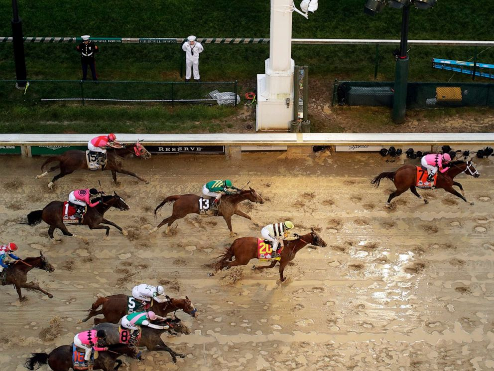 PHOTO: Luis Saez rides Maximum Security across the finish line first followed by Flavien Prat on Country House during the 145th running of the Kentucky Derby at Churchill Downs, May 4, 2019, in Louisville, Ky.