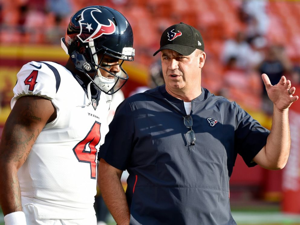 PHOTO: In this Aug. 9, 2018, file photo, Houston Texans quarterback Deshaun Watson (4) listens to head coach Bill OBrien before an NFL preseason football game against the Kansas City Chiefs in Kansas City, Mo.