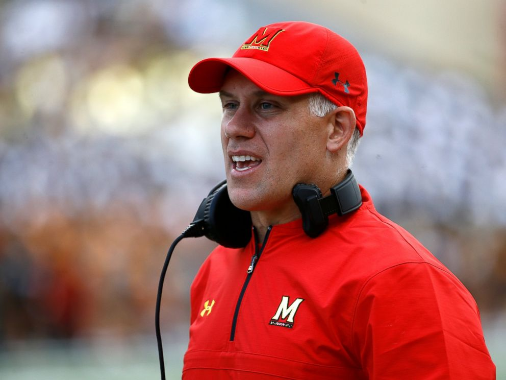 PHOTO: In this Saturday, Sept. 9, 2017, file photo, Maryland head coach DJ Durkin stands on the sideline during an NCAA college football game against Towson in College Park, Md.