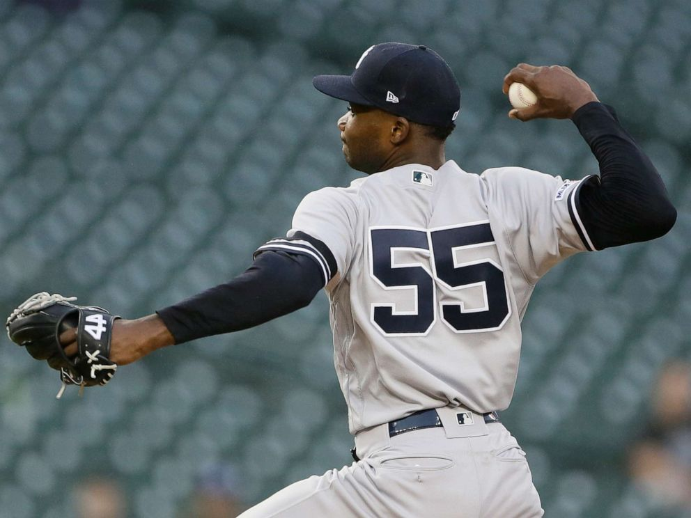 PHOTO: New York Yankees Domingo German pitches against the Detroit Tigers during the fifth inning of the second game of a baseball doubleheader, Thursday, Sept. 12, 2019, in Detroit.
