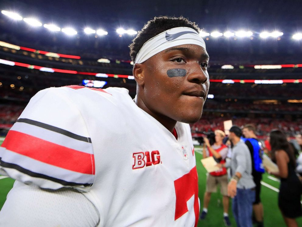 driving  street PHOTO: Dwayne Haskins of the Ohio State Buckeyes walks off the field after beating the TCU Horned Frogs 40-28 at AT&T Stadium on Sept. 15, 2018 in Arlington, Texas.