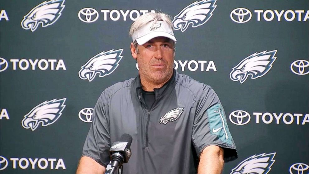 Eagles coach Drew Pederson speaks at a press conference on June 6, 2018.