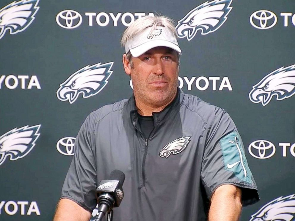 PHOTO: Eagles coach Drew Pederson speaks at a press conference on June 6, 2018.