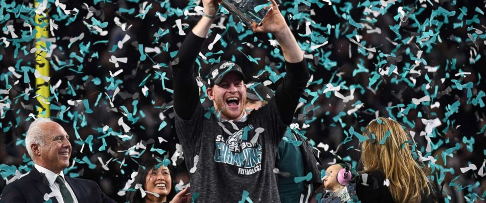 PHOTO: Philadelphia Eagles quarterback Carson Wentz celebrates after winning Super Bowl LII against the New England Patriots at US Bank Stadium in Minneapolis on Feb. 4, 2018.