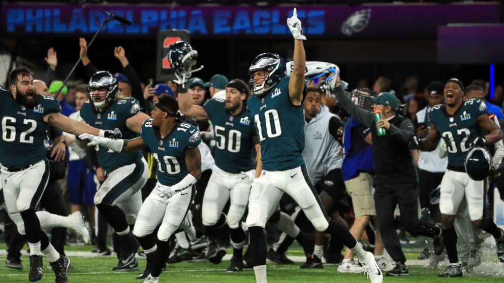 The Philadelphia Eagles celebrated defeating the New England Patriots 41-33 in Super Bowl LII at U.S. Bank Stadium, Feb. 4, 2018, in Minneapolis, Minnesota.