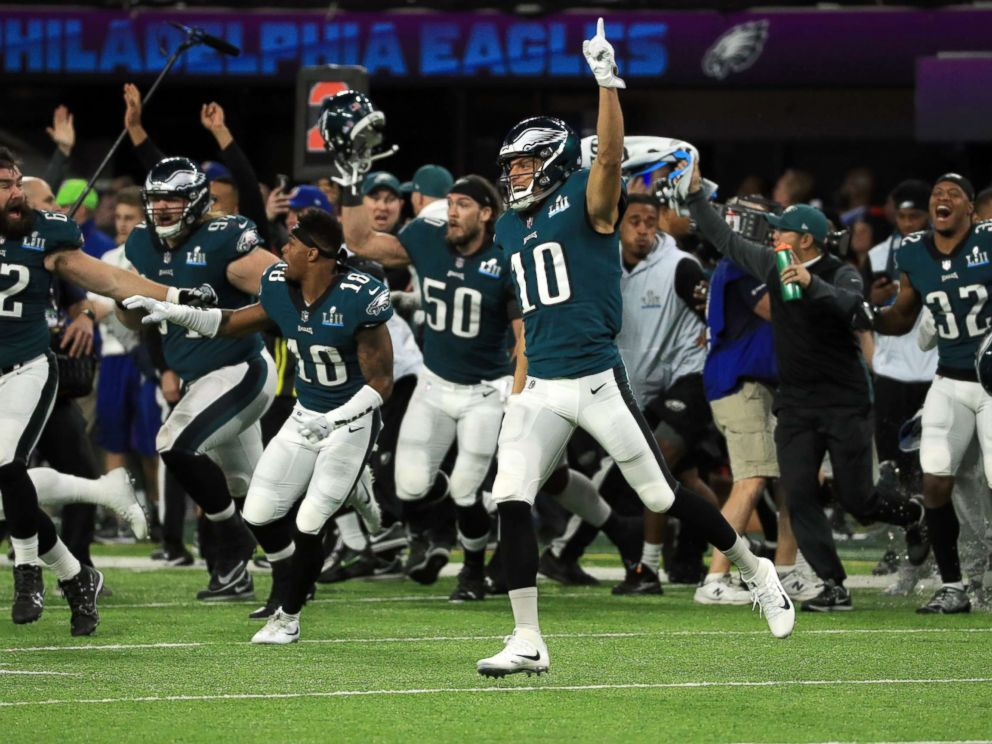PHOTO: The Philadelphia Eagles celebrated defeating the New England Patriots 41-33 in Super Bowl LII at U.S. Bank Stadium, Feb. 4, 2018, in Minneapolis, Minnesota.
