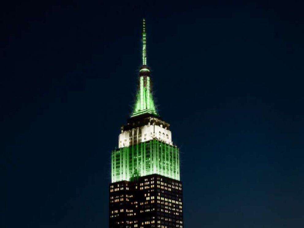 PHOTO: The Empire State building lit up in green to celebrate the Philadelphia Eagles Super Bowl win on Feb. 4, 2018, New York.