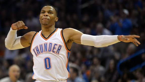 Russell Westbrook equals LeBron with 44th career triple
