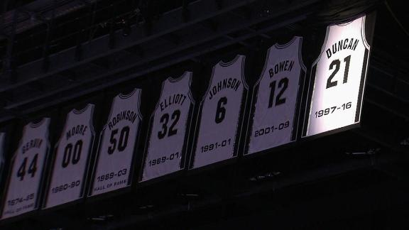 467ae27c32f51 Spurs raise Tim Duncan's jersey to rafters in emotional ceremony ...