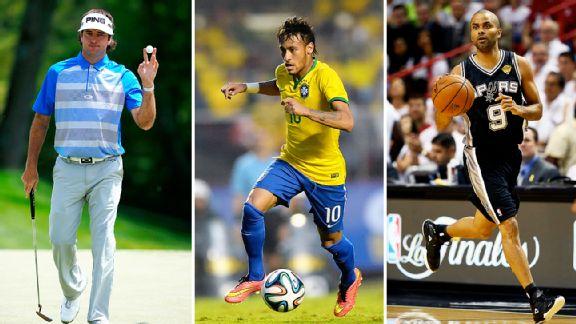 Bubba Watson, Neymar, and Tony Parker