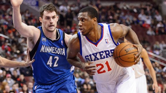 Kevin Love and Thaddeus Young