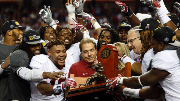 Alabama Crimson Tide celebrate after the SEC Championship