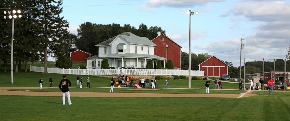 "PHOTO: In this Oct. 2, 2014, file photo, teams play at the ""Field of Dreams"" during a fall tournament in Dyersville, Iowa."