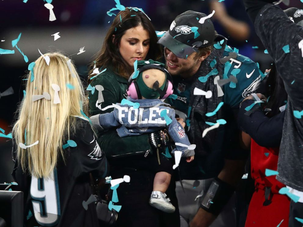PHOTO: Nick Foles #9 of the Philadelphia Eagles celebrates defeating the New England Patriots 41-33 with his wife Tori Moore in Super Bowl LII at U.S. Bank Stadium, Feb. 4, 2018, in Minneapolis.