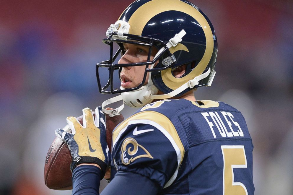 PHOTO: Nick Foles #5 of the St. Louis Rams warms up prior to a game against the Detroit Lions at the Edward Jones Dome, Dec. 13, 2015, in St. Louis.