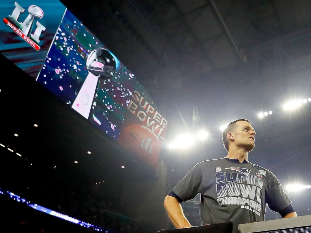 PHOTO: Tom Brady #12 of the New England Patriots looks on after defeating the Atlanta Falcons 34-28 in overtime of Super Bowl 51 at NRG Stadium, Feb. 5, 2017, in Houston.