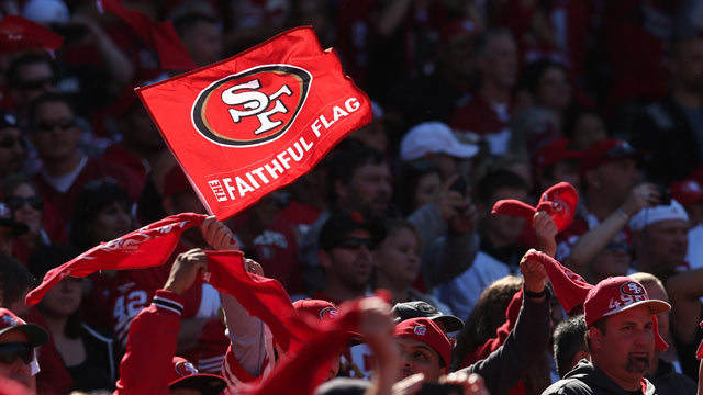 PHOTO: A 49er fan waves a flag in the game between the New York Giants and the San Francisco 49ers at Candlestick Park, Oct. 14, 2012, in San Francisco, Calif.