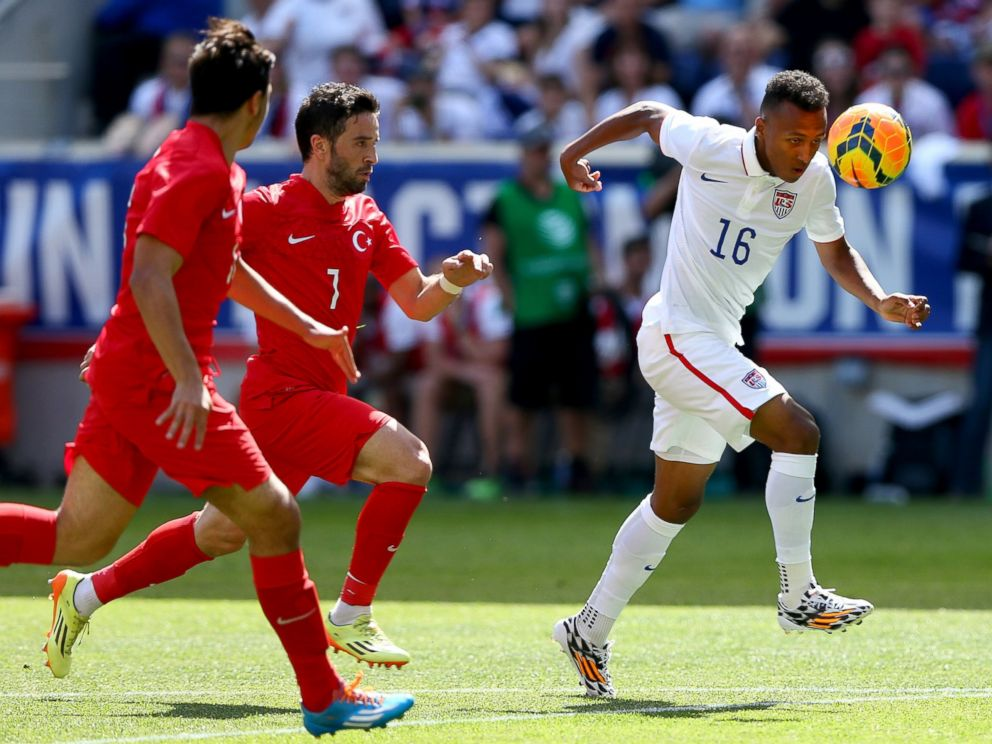 PHOTO: Julian Green of United States takes the ball as defenders from the Turkey team pursue during an friendly match at Red Bull Arena on June 1, 2014 in Harrison, New Jersey.