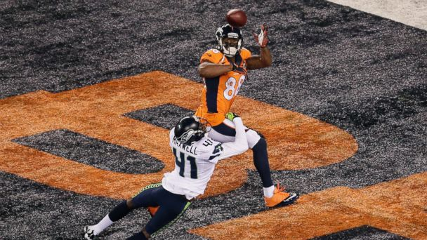 PHOTO: Wide receiver Demaryius Thomas #88 of the Denver Broncos scores on a 14 yard pass during Super Bowl XLVIII against the Seattle Seahawks at MetLife Stadium on Feb. 2, 2014 in East Rutherford, New Jersey.